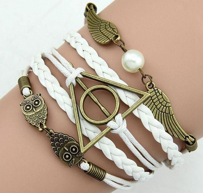 Pulseira/ Bracelete Símbolos de Harry Potter - Branca