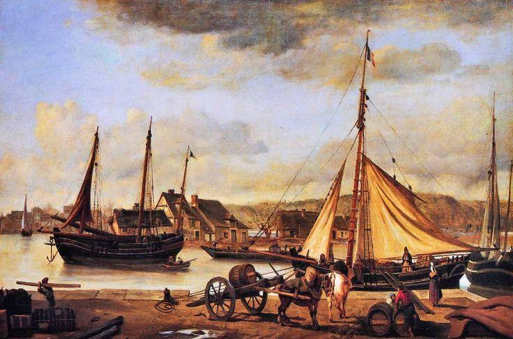 """Camille Corot, """"L'avant-port de Rouen"""",  1842  -   Après son retour d'Italie en 1828 Corot s'était rendu plusieurs fois en Normandie  Il accumule des croquis et des études des quai, des mariniers et des déchargeurs  """"J'ai mis en train une marine rouennaise. Si Ruysdael et Van de Velde pouvaient m'aider, cela ne me nuirait pas"""" écrit-il, revendiquant l'influence d'artistes hollandais"""