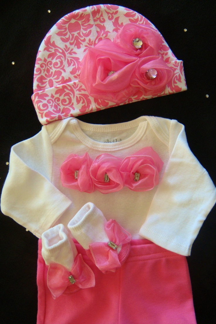 NEWBORN baby girl take home outfit complete with pink satin rosette onesie, matching pants, pink damask hat and socks.