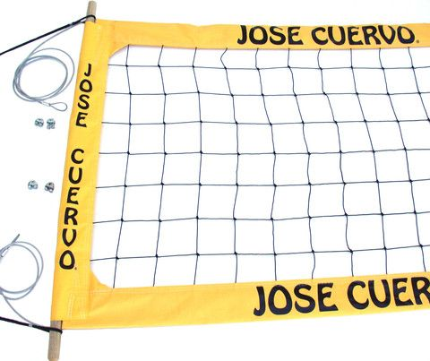 Jose Cuervo Tequila Professional Volleyball Court Net / This weather treated heavy duty Professional volleyball net comes with 1.125 inch wood dowels, x brace tension straps on each side,and #36 Knotted Netting. USA