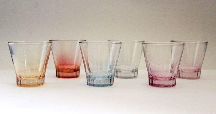 Retro Harlequin Coloured Pink, Clear, Marigold Orange & Blue Shot Glasses   #RETROBARBLING #SHOTGLASSES