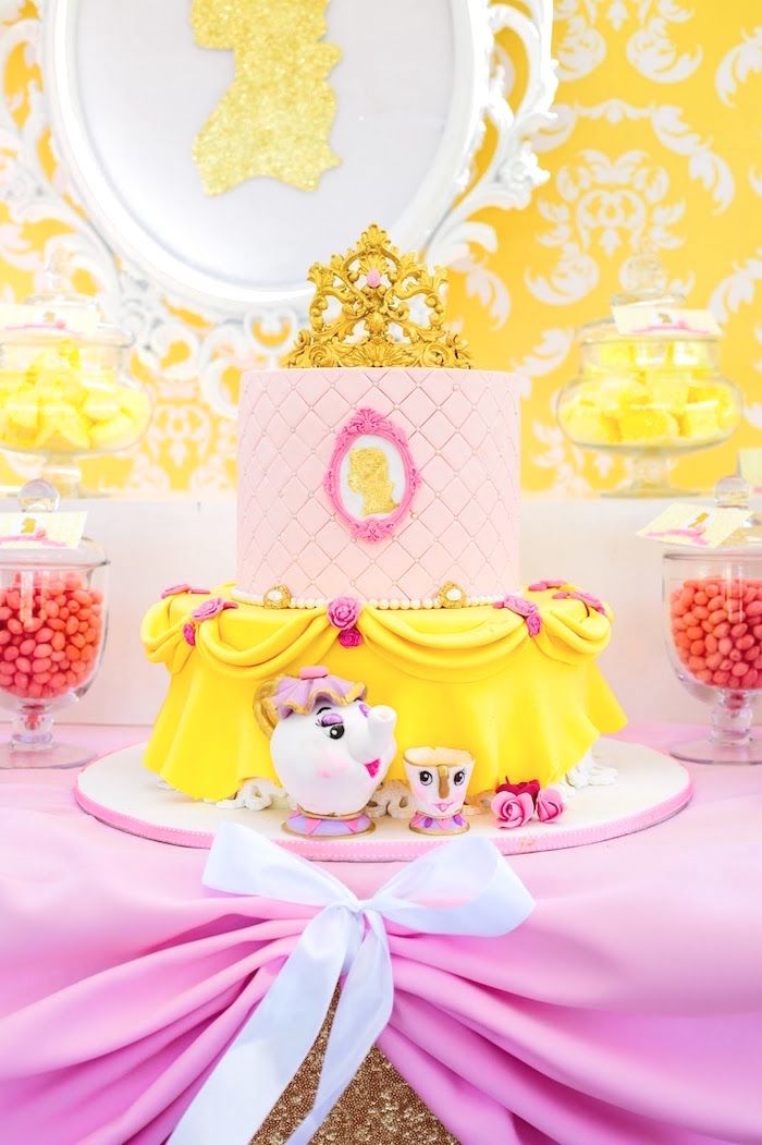 Princess Belle Birthday Cake from a Princess Belle Beauty and the Beast Birthday Party on Kara's Party Ideas | KarasPartyIdeas.com (4)