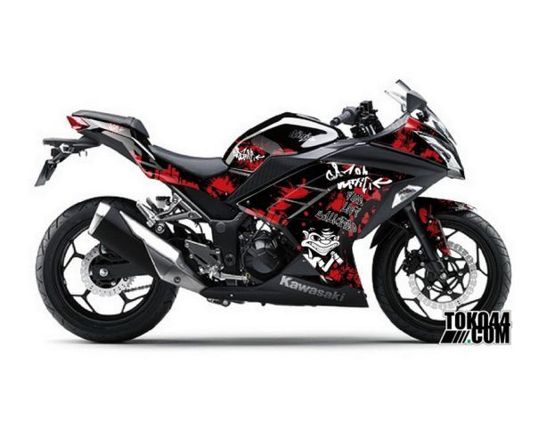 Decal Sticker Modifikasi Kawasaki Ninja 250 Fi Hitam - Grafitti Black Red