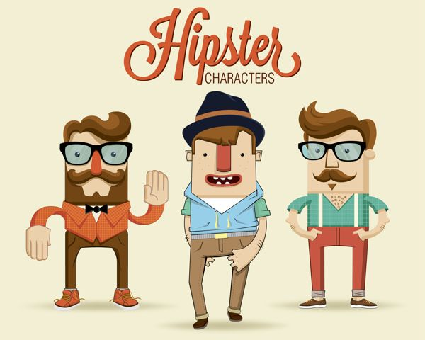 Nice illustration style - Hipster characters with hipster elements | Illustrator: Kovacs Tamas