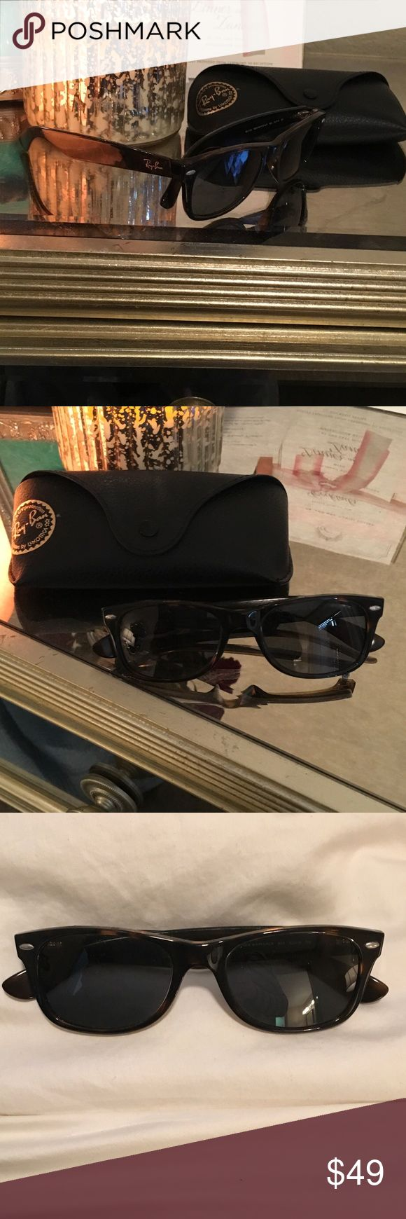 Ray Ban wayfarers - hardly worn! Brown tortoise Polarized! Only worn a few times. Good as new! Dark brown tortoise. Model number- RB2132 New Wayfarer polarized Ray-Ban Accessories Sunglasses