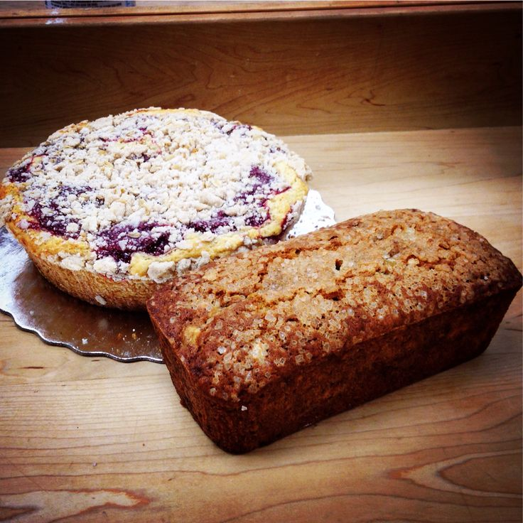 Cherry streusel coffee cake and fresh banana bread...excellent paired ...