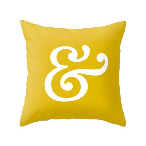 Ampersand decorative pillow. Teal minimal typographic decorative pillow that will liven up any room. Please select which size you would like using the