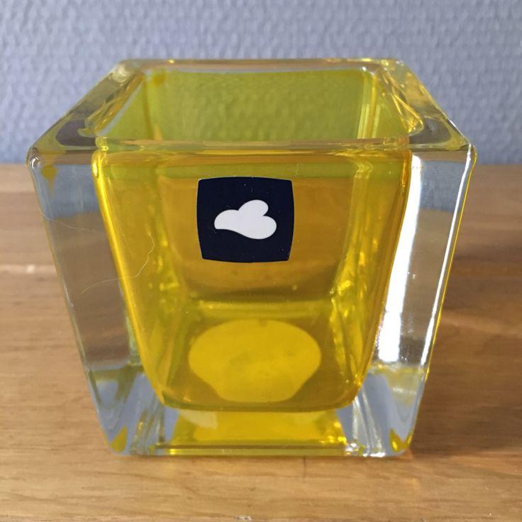 leonardo cube waxinelichthouder - geel