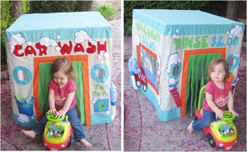 """Car Wash is open!  This is an interactive card table playhouse with real sponges, rags, vacuum hose, spray bottle and play coins.  The play house is designed so little riders can ride through the front and come out the back.  This downloadable pattern comes with instructions and patterns.  Download, print and go to the """"Car Wash""""!"""