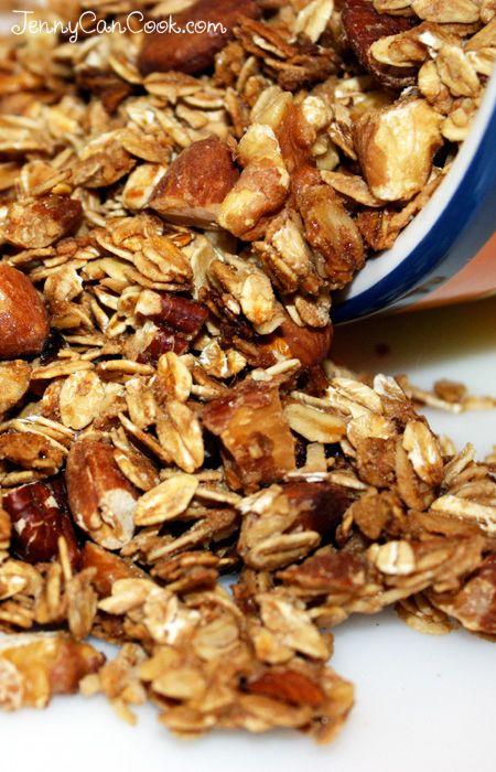 Easiest Granola Ever, Seriously - recipe from Jenny Jones (JennyCanCook.com) - Simple recipe for fantastic homemade granola.