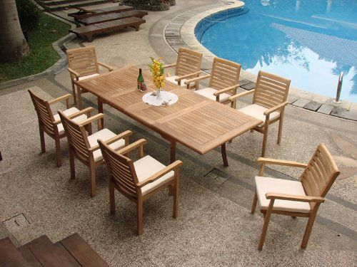 amazoncom gradea teak wood luxurious dining set collections 9 pc