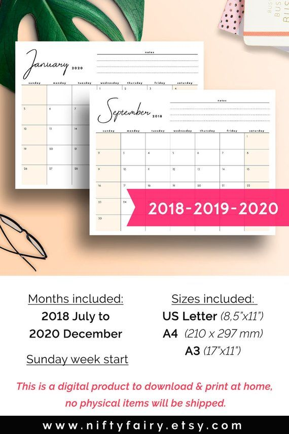 2019 Monthly Planner, 2019 Desk Calendar, 2019 Printable Calendar