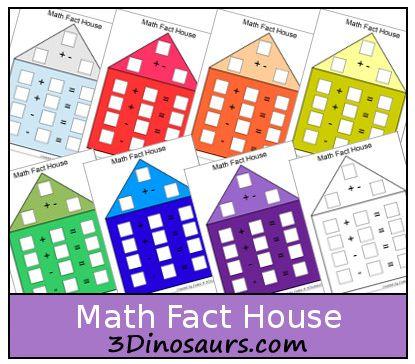 Free printable Math Fact Houses