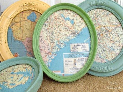Antique oval picture frame and vintage road map repurposed and upcycled into DIY wall art decor by Sadie Seasongoods / www.sadieseasongoods.com