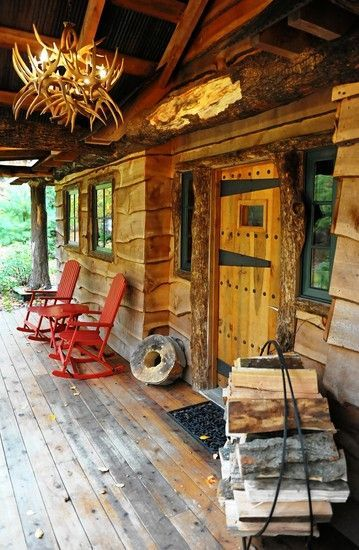 Lovely Rustic Cabin Porch Perfect Spot To Hang Out And Read