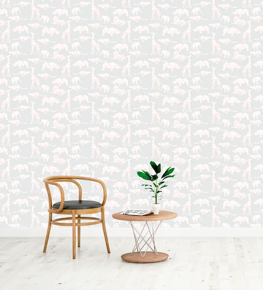 Safari wallpaper in Peach and Grey  Perfect for Kids bedrooms and nurseries