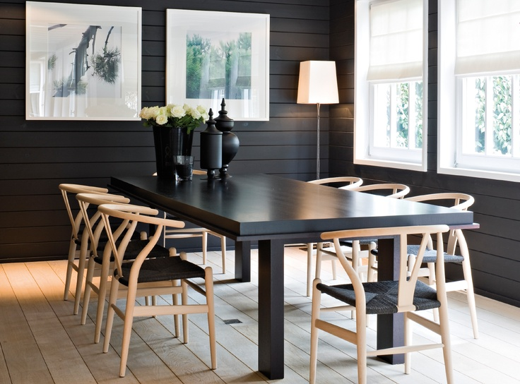 Simple Scandanavian Dark Table Light Chairs Living