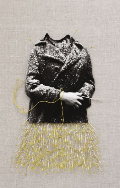 Creation, from the series Hommage of Roman Vishniac, 2011 Cut-out pigment print, embroidery, thread, pins and needles on fabric 44 x 32 cm with frame