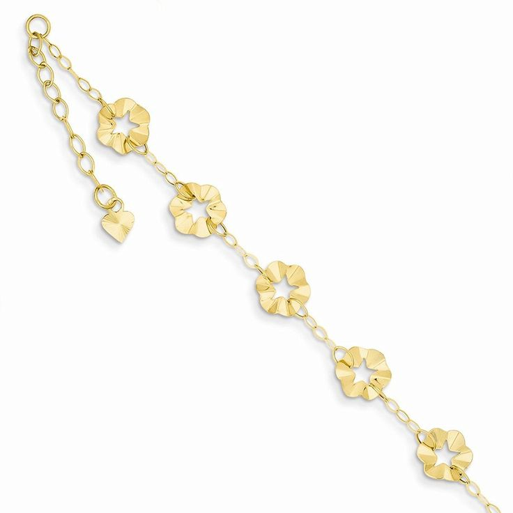 Polished 14k Gold Adjustable Flower 9in Spring Ring Clasp Anklet -- You can get more details by clicking on the image.