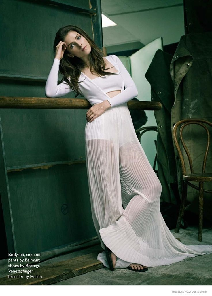 Actress Anna Kendrick is the February 12, 2015, cover star for The Edit from Net-a-Porter. In the photo shoot captured by Victor Demarchelier, the brunette wears ballet inspired fashions ranging from wrap cardigans to sheer and pleated skirts from the likes of Alexander McQueen and Bottega Veneta. In her interview, she talks about acting once she gets older.
