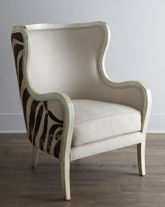 Subtle in front, funky zebra stripes in back on the Cartata Wing Chair by Massoud at @Horchow #home #decor #design