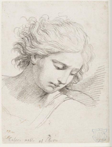 Jacques-Louis David (1748-1825), Studio per la testa di San Michele, dopo Reni, gesso nero su carta vergata, 1775-80. Londra, Victoria and Albert Museum.
