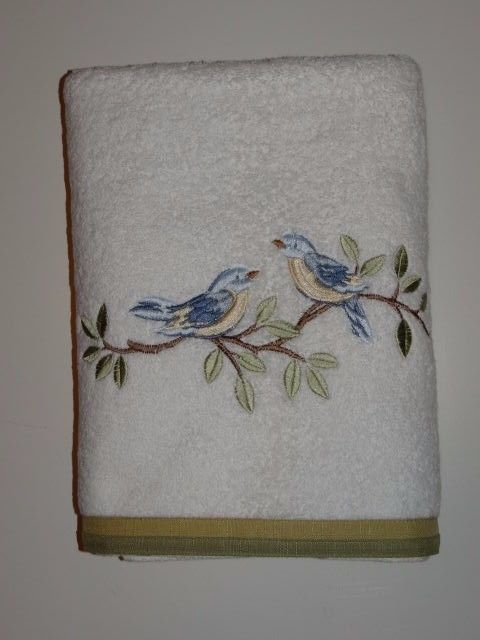 Majesty White Green/Blue Embroidered Birds 100% Cotton Bath Towel