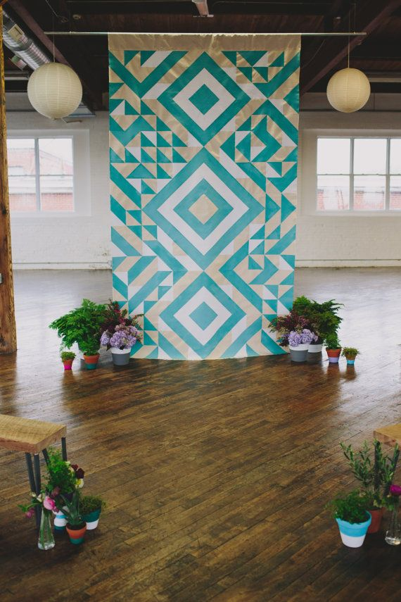 Geometric Ceremony Backdrop by SarahParkDesigns on Etsy,