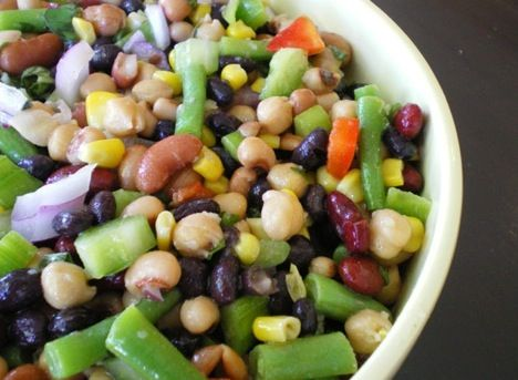 3-bean-salad.  3 cans of any beans you like – white, kidney, black-eyed peas, pinto, etc. Drain and mix together in a large bowl. Add thawed frozen green beans. Toss with your favorite dressing. Serve and enjoy this low-fat, high-protein, cheap meal. Grate a little parmesan over the top for a nice touch.