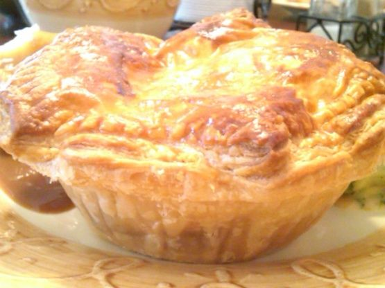 This is The Australian Traditional Meat pie! usually eaten for lunch for just watching the aussie rules footy. You can make 1 big meat pie or more little ones from this recipe!