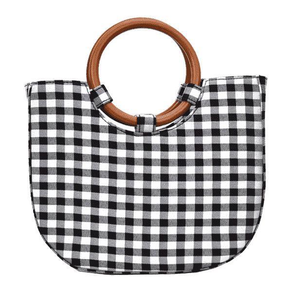 Round Handle Plaid Handbag Black ($26) ❤ liked on Polyvore featuring bags, handbags, shoulder bags, man bag, plaid shoulder bag, handbag purse, purse shoulder bag and handbags shoulder bags