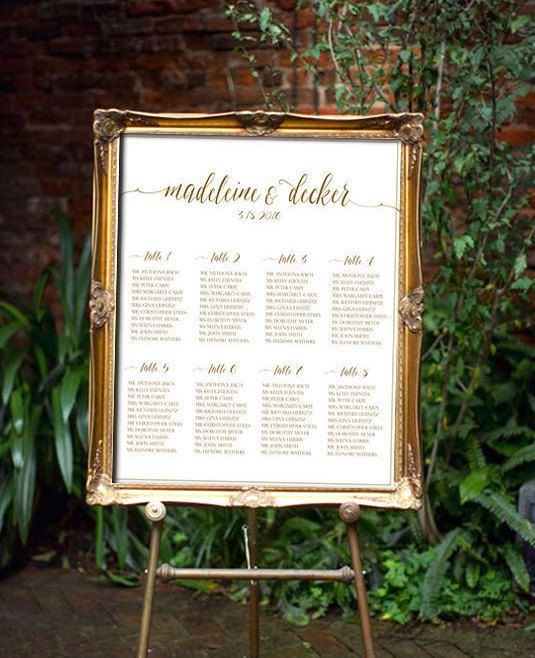 Wedding Seating Chart Script PRINTABLE  ANY COLOR by Dantell