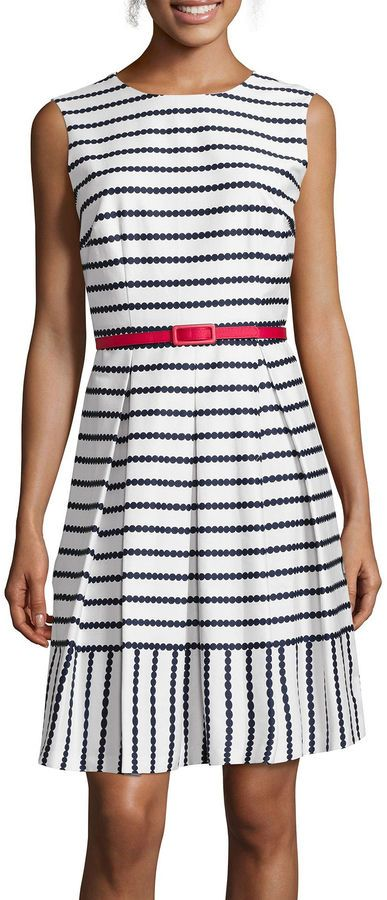LIZ CLAIBORNE Liz Claiborne Sleeveless Belted Striped Fit-and-Flare Dress