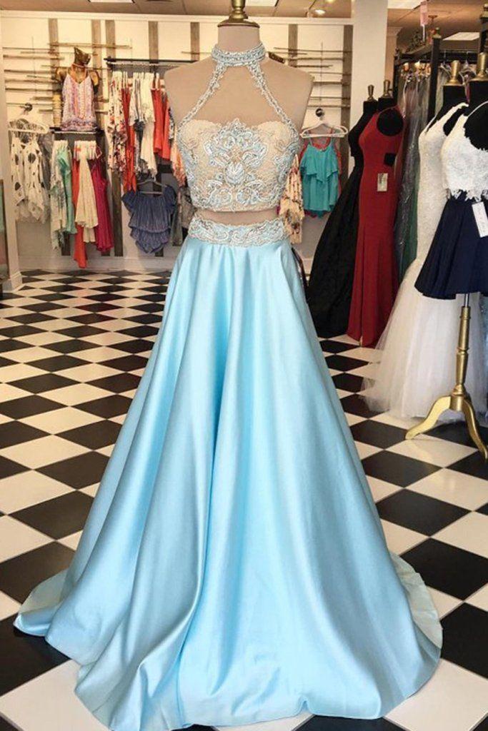 Light blue satins two pieces lace round neck formal dresses,long dress