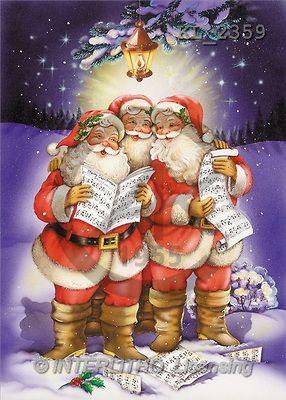 Interlitho, Michele, CHRISTMAS SANTA, SNOWMAN, paintings, 3 santas, singing(KL2359,#X#) Weihnachtsmänner, Schneemänner, Weihnachen, Papá Noel, muñecos de nieve, Navidad, illustrations, pinturas