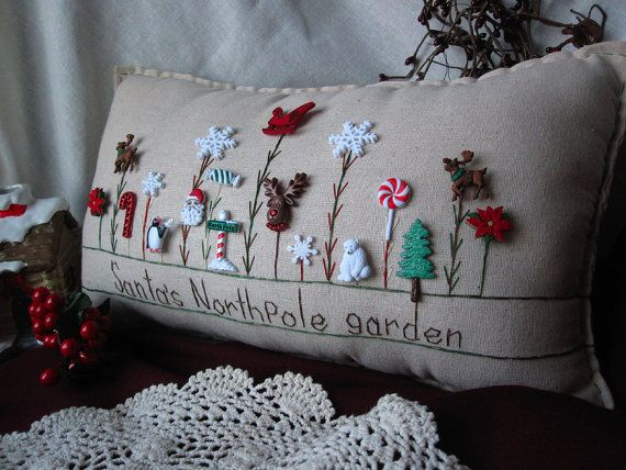 Santa's North Pole Garden Pillow by PillowCottage on Etsy, $25.00