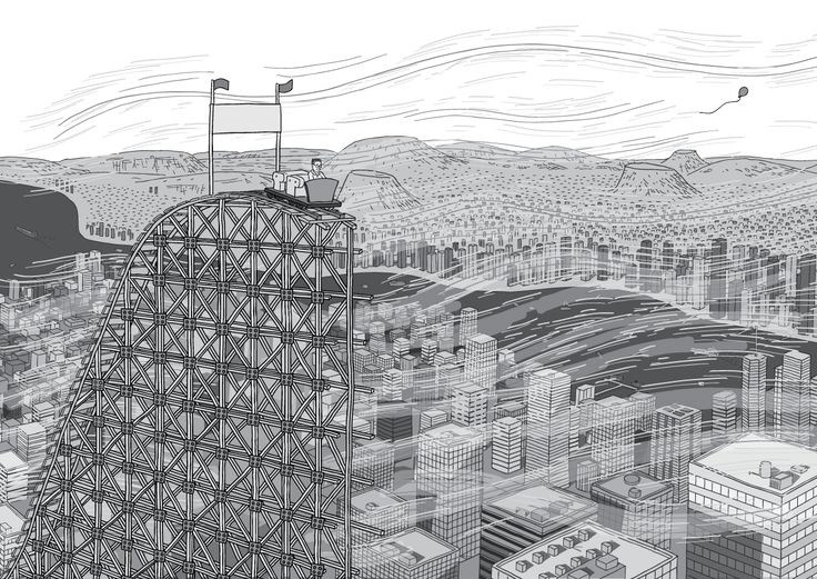 Wind gusts blowing past a half-completed roller coaster slope built in the middle of a city. Windy day above city office towers. High angle cartoon drawing of urban sprawl.  Image from Stuart McMillen's comic Peak Oil (2015), from the book Thermoeconomics (2017).