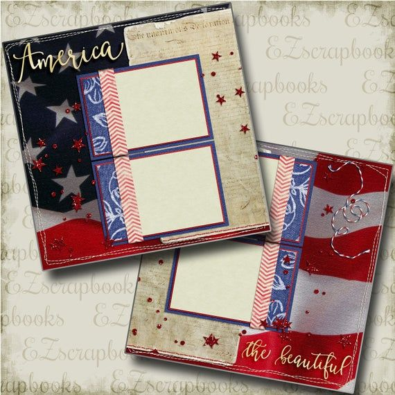 America The Beautiful 2 Premade Scrapbook Pages Ez Layout Etsy In 2020 Military Scrapbook Layouts Premade Scrapbook Scrapbook Pages