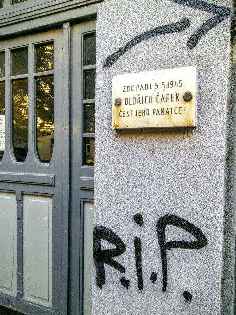 """On 5.5.1945, Oldrich Capek fell here. Honor his memory!"" [Czech, address: Caijkovskeho 5]"