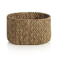17.5w 13.5 d 10.75 H 29.95, also comes in larger size for 39.95 View larger image of Water Hyacinth Small Oval Basket