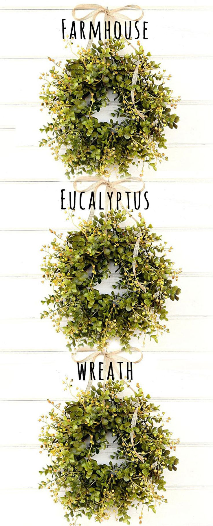 "Love the eucalyptus wreaths. This one is simple, organic in design, and 12"" for $22.  Budget friendly cost, and perfect for my farmhouse kitchen windows. #farmhouse #wreath #homedecor #etsy #ad"