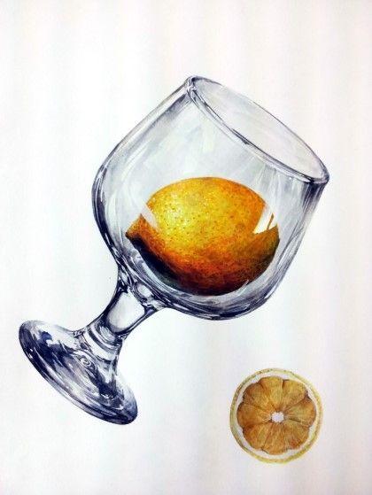 <디자인입시용그림><기초디자인> 개체묘사- 레몬과 유리잔 : 네이버 블로그