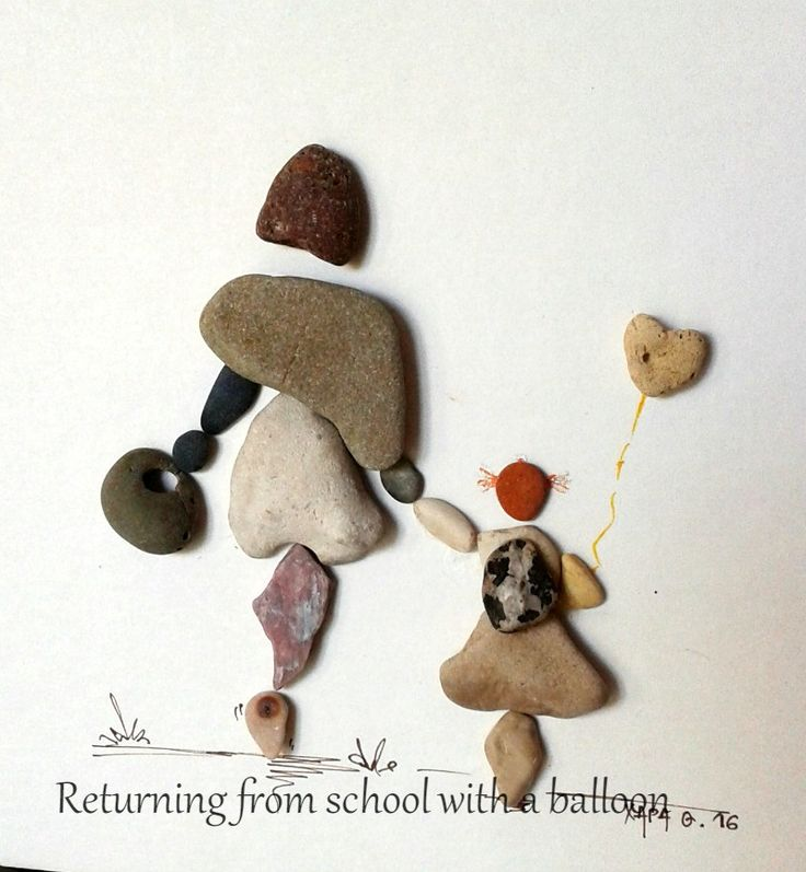 Returning from school with a balloon Pebble art by Hara