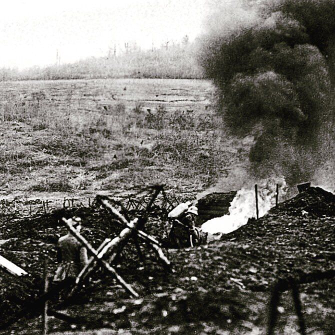 Wwi German Stormtroops Training With A Flamethrower In A Dummy