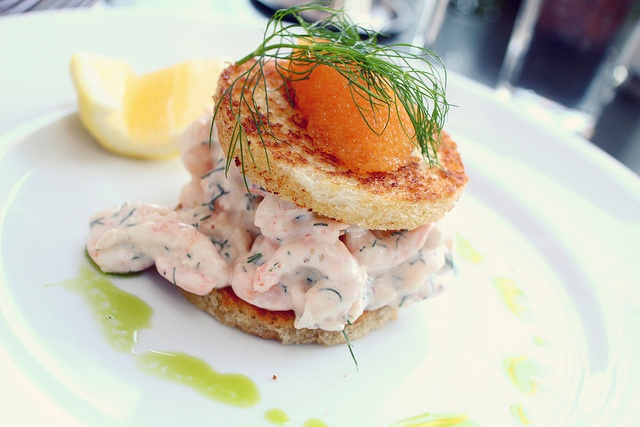 Breakfast in Scandinavia, shrimp sandwich with dill and cukes. Mmmmm! (no salmon for me, tak!)