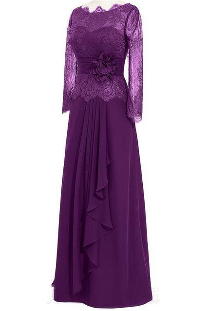 Maternity Prom Dresses 2016 Free Shipping Real Photos Elegant Purple Long Sleeves Evening Dresses
