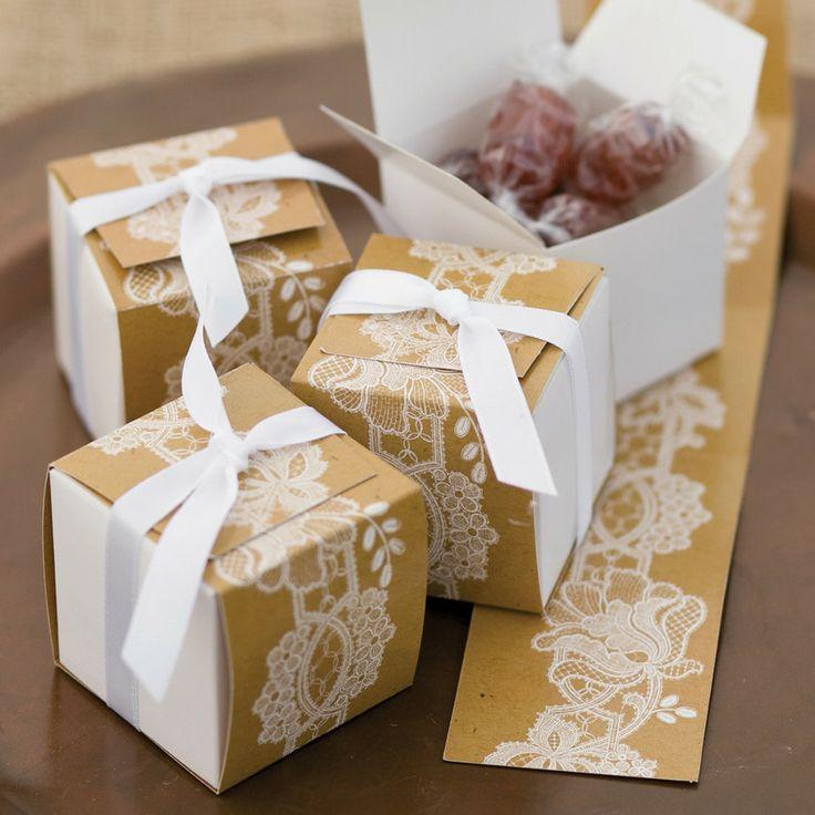 Rustic Lace Wrap Favor Boxes
