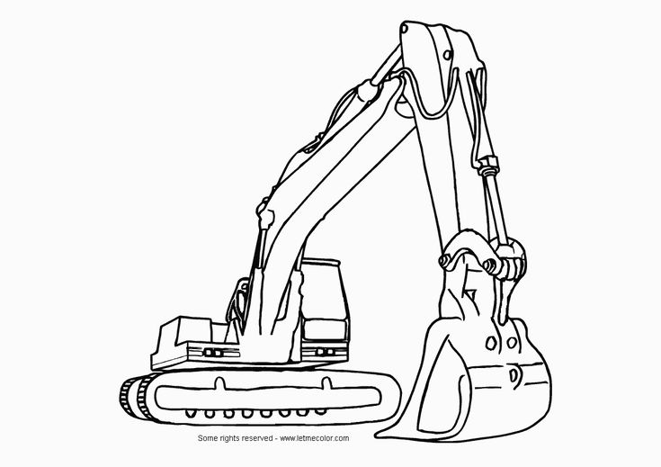 Printable Construction machines | Free Heavy Construction Equipment Hydraulic Excavator Coloring Page ...