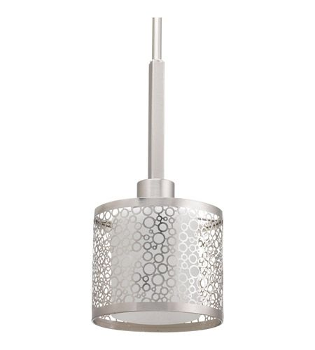 Pendant lighting over kitchen island and downstairs bar. Progress P5038-09 Mingle 1 Light 6 inch Brushed Nickel Mini-Pendant Ceiling Light in Etched Spotted White Glass photo