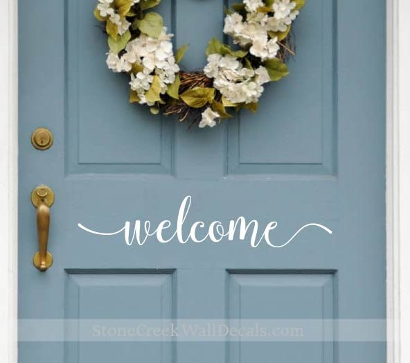 exterior door stickers. welcome door decal - front vinyl d024 sticker exterior stickers v
